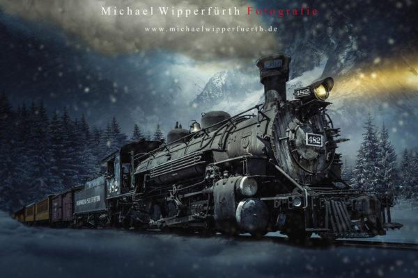 Photoshop Compositing / Polarexpress / Winter / Digitalart /Düsseldorf / Michael Wipperfürth Fotografie / Print / Wandbild / Eisenbahn / Dampflok